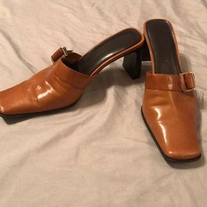 Nine West Brown Leather Mules - Size 8M